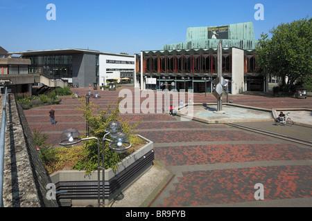 Mediothek und Stadttheater auf dem Theaterplatz in Krefeld, Rhein, Niederrhein, Nordrhein-Westfalen - Stock Photo