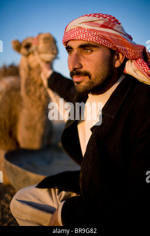 Portrait of a young Syrian Bedouin man in Palmyra Syria. - Stock Photo