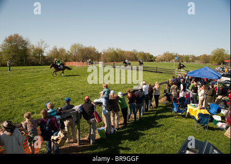 Horses jumping over fence - Manor Races, Maryland - Stock Photo