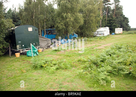 Small new age travellers site Sutton Heath, Suffolk, England - Stock Photo
