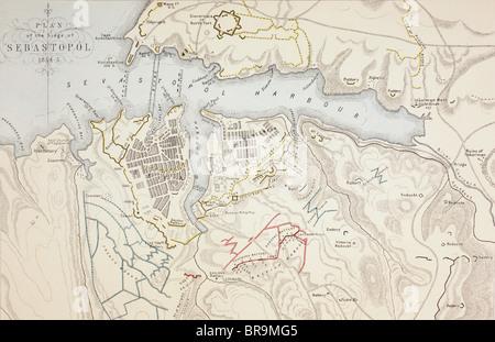 Plan of The Siege of Sevastopol, 1854 to 1855. - Stock Photo