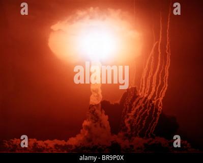 1950s ATOM BOMB MUSHROOM CLOUD EXPLOSION - Stock Photo