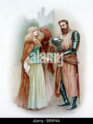 COLOR ILLUSTRATION OF MEDIEVAL KNIGHT LANCELOT AND LADY ELAINE - Stock Photo