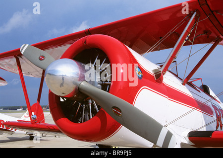 CLOSE UP OF PROPELLER ON BOEING PT-17 STEARMAN AIRPLANE - Stock Photo