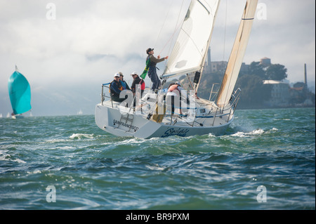 Nantucket Sleighride, 6th overall in the j105 division, racing past alcatraz island - Stock Photo