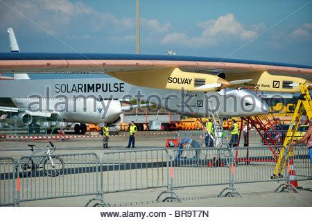 Solar Impulse revolutionary solar plane HB-SIA. Solar Impulse's ambition is for the world of exploration and innovation. - Stock Photo