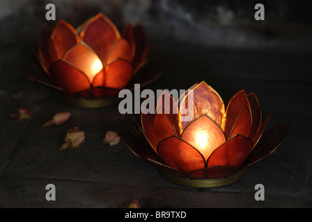Lotus candle holders - Stock Photo