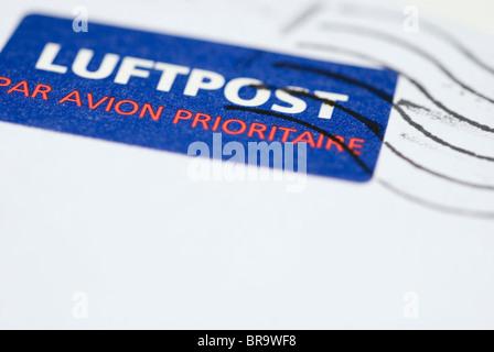 luftpost - air mail stamp - Stock Photo