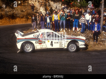 Makku Alen driving a Martini Lancia 037 Rally on a stage in the Monte Carlo Rally 1983 - Stock Photo