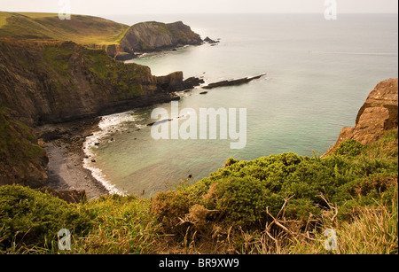 View from Blagdon Cliff  near Hartland Point looking towards  Smoothlands and Gull Rock - Stock Photo