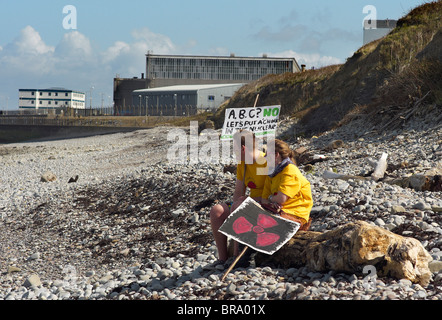 Demonstration on the beach at Hinkley Point nuclear power station against plans for a third power station Sept 2010 - Stock Photo