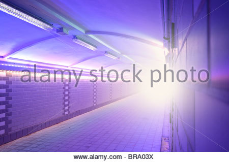 Symbolic image, the light at the end of the tunnel - Stock Photo