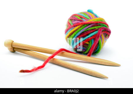Multi colour ball of wool on white background - Stock Photo