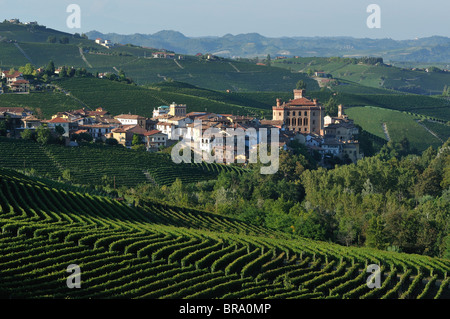 Barolo. Italy. The small town of Barolo nestled amongst vineyards in the Langhe region of Piedmont. - Stock Photo