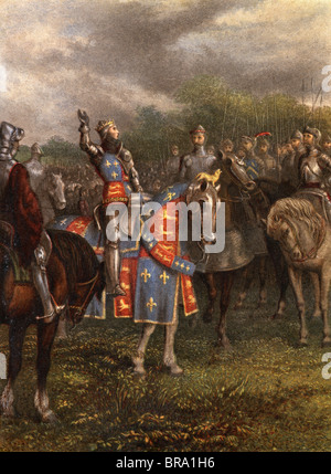1400s HENRY V OF ENGLAND SPEAKING TO HIS ARMY FROM ARMORED HORSE BEFORE BATTLE OF AGINCOURT OCTOBER 25 1415 15TH - Stock Photo