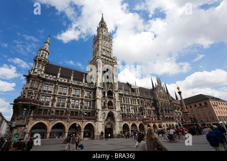 new Town Hall 'Neues Rathaus' at Marienplatz Munich - Stock Photo
