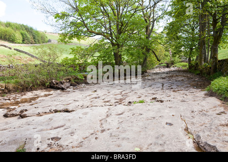 The rocky bed of the River Dee dried up east of Dent, Cumbria in the early summer drought at the end of May 2010 - Stock Photo
