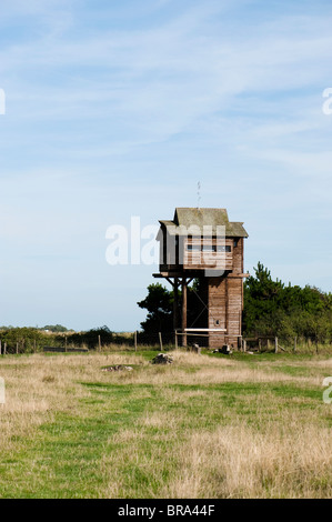 Tower hide at Bridgwater Bay National Nature Reserve, Somerset, United Kingdom - Stock Photo