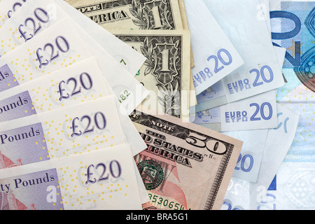 euro dollar and british pounds sterling banknotes mixed currency - Stock Photo