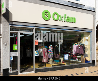 Oxfam charity shop in Huddersfield town centre, West Yorkshire, England, UK - Stock Photo