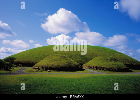 Knowth, Co Meath, Ireland, Neolithic Passage Grave And Satellite Graves - Stock Photo