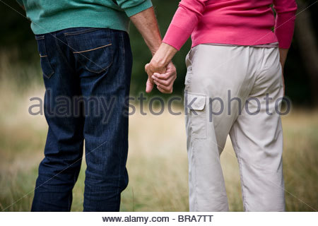 A senior couple holding hands, rear view - Stock Photo