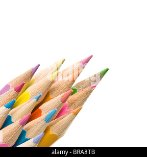Abstract Coloured Pencils isolated on white background. - Stock Photo