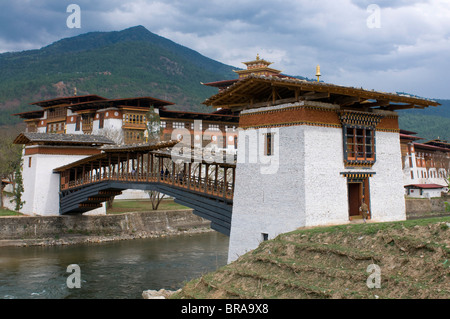 The tsong, an old castle of Punakha, Bhutan, Asia - Stock Photo