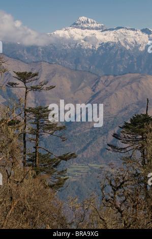 Mountain landscape, Pele La (Pass), Bhutan, Himalayas, Asia - Stock Photo