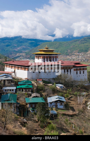 The tsong (old castle), now acting as a Buddhist monastery, Paro, Bhutan, Asia - Stock Photo