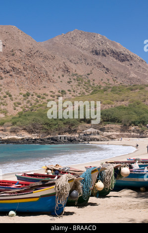 Fishing boats on sandy beach of Tarrafal, Santiago, Cape Verde Islands, Atlantic, Africa - Stock Photo