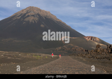 Path leading to volcano on Fogo, Cape Verde Islands, Africa - Stock Photo