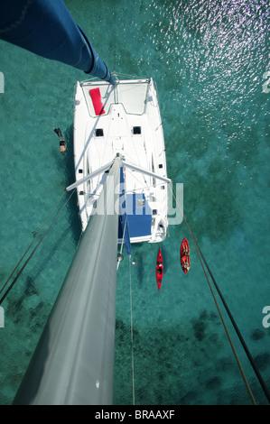 Kayak, snorkeler and open kayak viewed from the masthead of Moorings charter catamaran 'Pitch Pin', British Virgin - Stock Photo