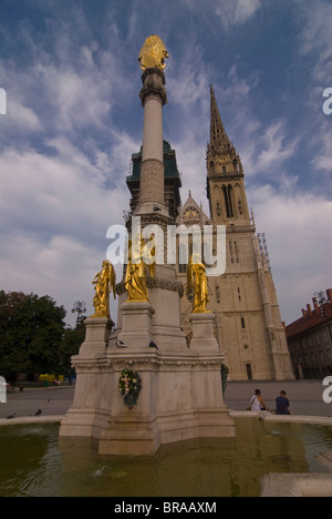 Fountain in front of the Cathedral of the Assumption of the Blessed Virgin Mary, Zagreb, Croatia, Europe - Stock Photo