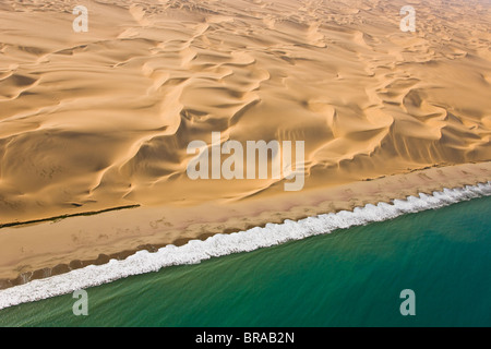 Aerial view of sand dunes and the atlantic coast, near Swakopmund, Namib desert, Namibia, August 2008 - Stock Photo