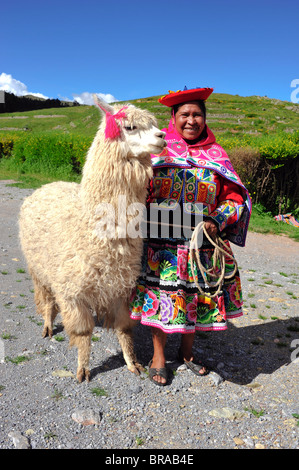 Smiling Peruvian woman in traditional garments standing with lama on the hill near Cuzco, Peru, South America - Stock Photo
