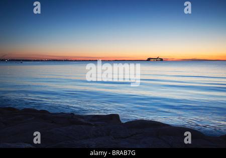 Tallink Ferry on horizon coming into port, Tallinn, Estonia, Baltic States, Europe - Stock Photo