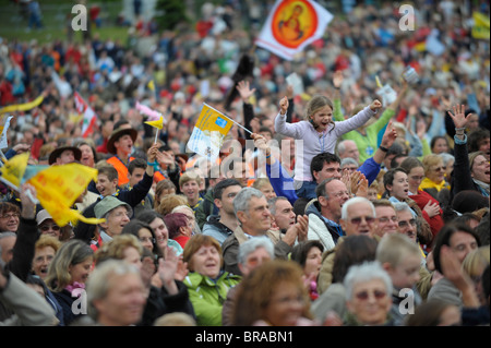 Worshippers during the Pope's visit to Lourdes, Hautes Pyrenees, France, Europe - Stock Photo