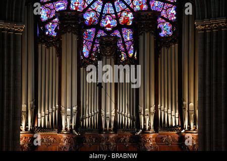 Master organ in Notre Dame de Paris cathedral, Paris, France, Europe - Stock Photo