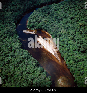 Aerial image of river bend and sandbars in the Paikwa River, Upper Mazaruni District, Guyana, South America - Stock Photo