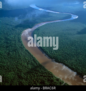 Aerial image of the Lower Mazaruni River south of Oranapai Landing, Guyana, South America - Stock Photo