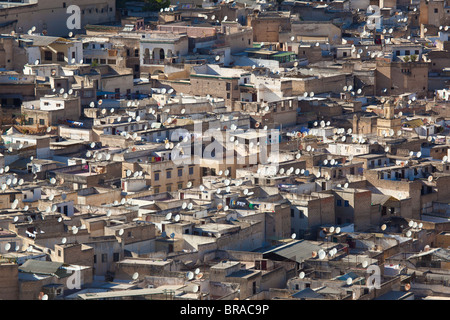 Satellite dish in Fez, Morocco - Stock Photo