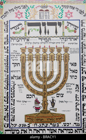 Talmud artwork in Hertzliya synagogue, Hertzliya, Israel, Middle East - Stock Photo
