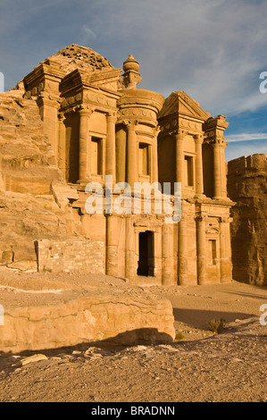 Al Deir (the Monastery) at sunset, Petra, UNESCO World Heritage Site, Jordan, Middle East - Stock Photo