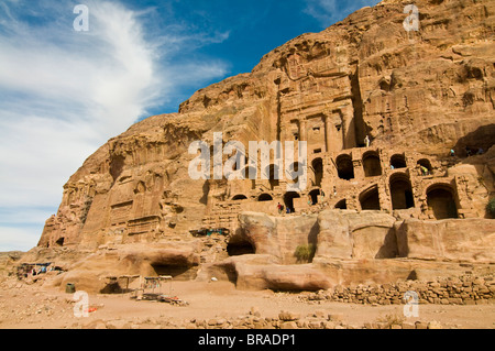 The royal tombs of Petra, UNESCO World Heritage Site, Jordan, Middle East - Stock Photo