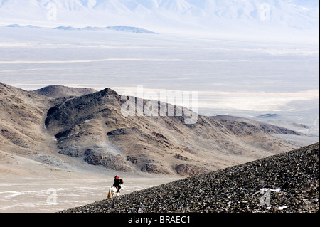An eagle hunter out on a morning hunt in the Altai Mountains, Bayan Olgii, Mongolia, Asia - Stock Photo
