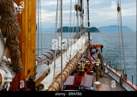 Aboard the historic tall ship 'Zodiac' we went cruising through the San Juan Islands in the Puget Sound area of - Stock Photo