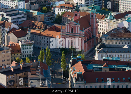 View down on the Franciscan Church of the Annunciation, Ljubljana, Slovenia, Europe - Stock Photo