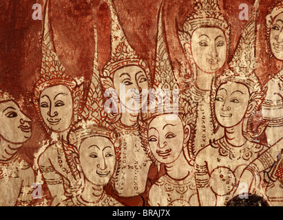 Celestial deities, detail of murals dating from the Ayutthaya period, Wat Chompoowek, Nonthaburi, Thailand, Southeast - Stock Photo