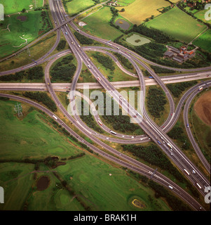 Aerial image of M25 and M11 Motorway Junction, Essex, England, United Kingdom, Europe - Stock Photo